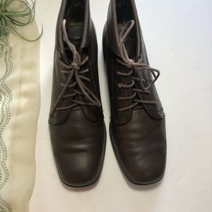 Vintage Shoes - Vtg St Johns Bay Granny Ankle Booties Brown 7 1/2